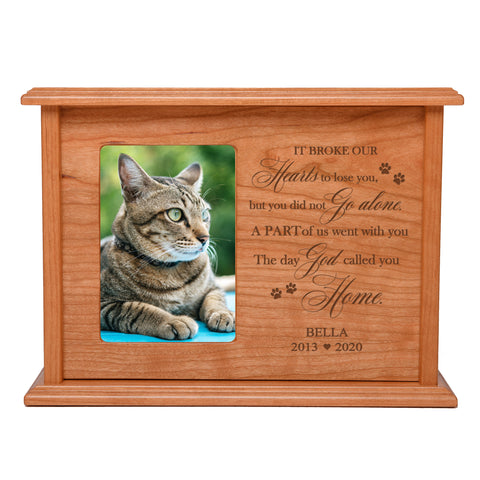LifeSong Milestones Personalized Pet Cremation Urn with 4x5 Photo It Broke Our Hearts Medium Cherry and Maple Finish Wooden Dog and Cat Urns for Pet Ashes 10.5 x 7 x 7.75