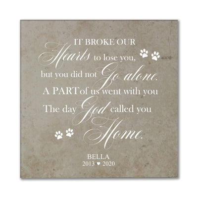 "LifeSong Milestones Personalized Pet Memorial Trivet It Broke Our Hearts - Bereavement Keepsake Coaster Loss of Loved One Sympathy Home Decor - 5.75""x5.75""x0.25"""