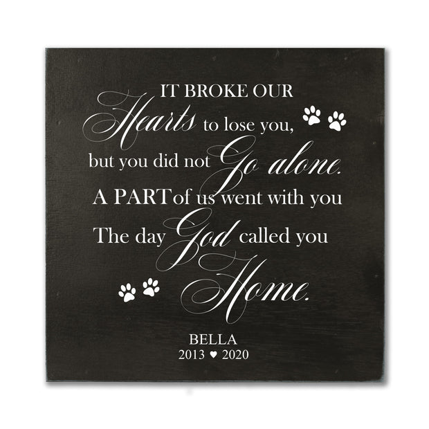 "LifeSong Milestones Personalized Pet Memorial Shadow Box It Broke Our Hearts Bereavement Keepsake Box Loss of Loved One Sympathy Wall Art Decor - 10"" x 10"""