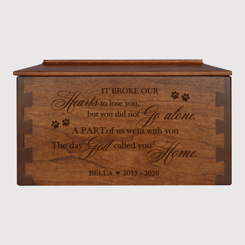 LifeSong Milestones Personalized Pet Memorial Medium Cherry Dovetail Wooden Urn for Cat or Dog Urn Keepsake Box - Holds 162 cubic inches - It Broke Our Hearts 9.5x5.5x5 Funeral Box
