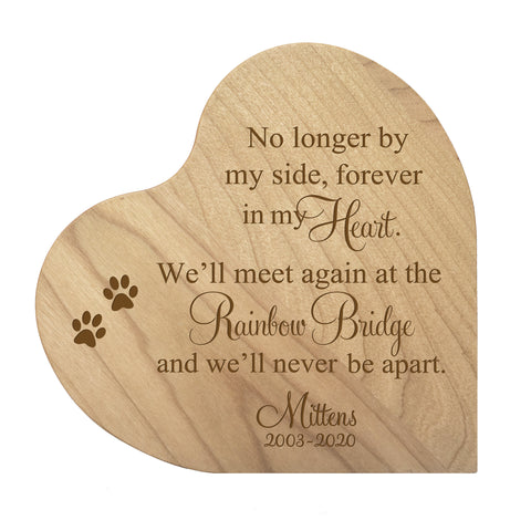 LifeSong Milestones Personalized Memorial Wooden Heart Block Pet Cremation Urn for Ashes of Loved Ones