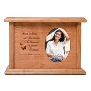 "LifeSong Milestones Personalized Spanish Cremation Urn for Adult Humans With Oval Photo Medium Cherry Finish Wooden Adult Urns For Human Ashes with Spanish Verse - 8.75' x 6.25"" x 4""."