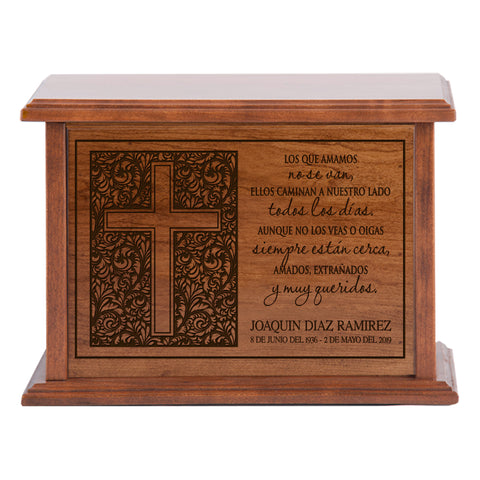 LifeSong Milestones Personalized Spanish Cremation Urn for Adult Humans Medium Cherry Finish Wooden Adult Urns For Human Ashes with Spanish Verse - 10.5 x 7.5 x 6.5