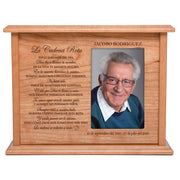 "LifeSong Milestones Personalized Spanish Cremation Urn for Adult Humans With Photo Medium Cherry Finish Wooden Adult Urns For Human Ashes with Spanish Verse - 11.75"" x 9"" x 4"""