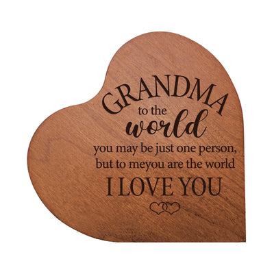 "LifeSong Milestones Engraved Wooden Heart Block Home Decor Gift - Grandma To The World -  Housewarming Keepsake for Family Home Celebration- 5"" x 5.75"" x 0.75""."