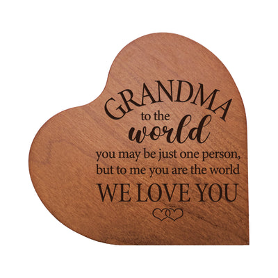 "LifeSong Milestones Engraved Wooden Heart Block Home Decor Gift - Grandma To The World 2 -  Housewarming Keepsake for Family Home Celebration- 5"" x 5.75"" x 0.75""."