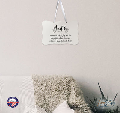 "LifeSong Milestones Digitally Printed Ribbon Signs - Wall Decor Ribbon Sign - Auntie - Gift For New Home Mothers Daughter Gift Wall Decor 8"" x 12"" Includes Ribbon. Ribbon included free of charge for easy hanging and display. They are made of re-engineered wood in the USA."