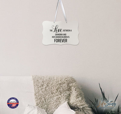 "LifeSong Milestones Digitally Printed Ribbon Signs - Wall Decor Ribbon Sign - The Love Between - Gift For New Home Mothers Daughter Gift Wall Decor 8"" x 12"" Includes Ribbon. Ribbon included free of charge for easy hanging and display. They are made of re-engineered wood in the USA."