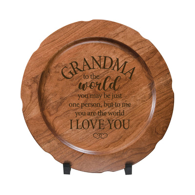 LifeSong Milestones Wooden Decorative Plate Family Keepsake 12in Grandma I Love You  Housewarming Mother's Day Gift Home Wall Decor Kitchen Keepsake