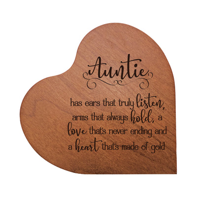 "LifeSong Milestones Engraved Wooden Heart Block Home Decor Gift - Auntie -  Housewarming Keepsake for Family Home Celebration- 5"" x 5.75"" x 0.75""."
