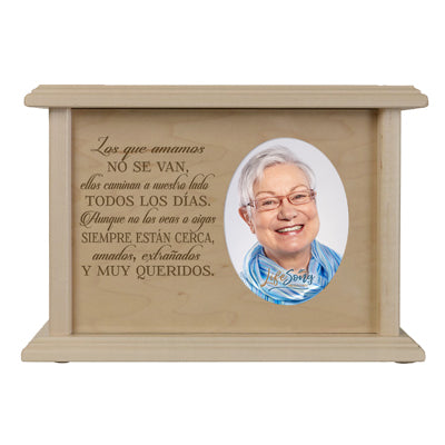"LifeSong Milestones Personalized Spanish Cremation Urn for Adult Humans With Oval Photo Medium Cherry Finish Wooden Adult Urns For Human Ashes with Spanish Verse - 8.75' x 6.25"" x 4"""