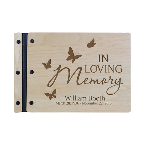 "Lifesong Milestones Funeral Guest Book Personalized Wooden Memorial Guestbook Celebration of Life Guest Book Remembrance In Loving Memory Keepsake 12.375"" x 8.5"" x .75""-In Loving Memory 2"