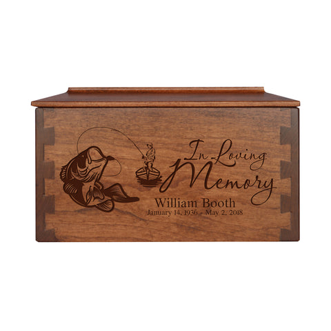 "LifeSong Milestones Personalized Medium Cherry Dovetail Wooden Urn for Pet Ashes Urn Keepsake Box 9.5 "" x 5.5"" x 5"" and holds 90 Cubic Inches of Ashes"