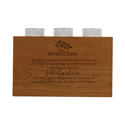 "Lifesong Milestones Personalized Engraved Dual Purpose Wooden 3 Votive Candle Holder & Urn Bereavement Keepsake Candle Holder Loss of Loved One Sympathy Home Decor 10""x6""x4"""