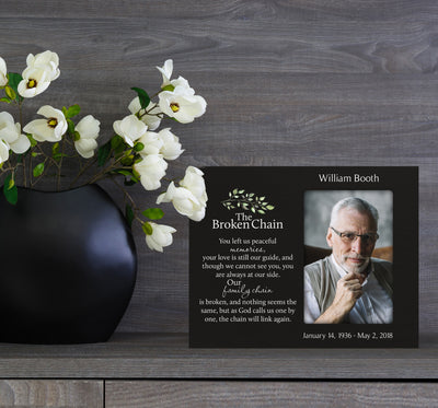 Personalized Wooden Memorial 8x10 Picture Frame holds 4x6 photo Broken Chain