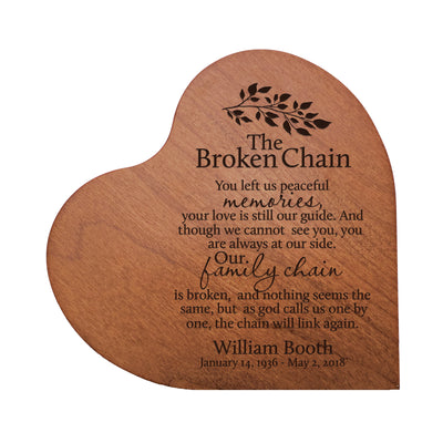 "Personalized Engraved Memorial Heart Block The Broken Chain 5"" x 5.25"" x 0.75"""