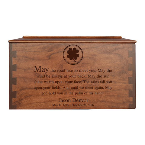 "LifeSong Milestones Personalized Large Cherry Dovetail Wooden Urn for Pet Ashes Urn Keepsake Box 10.5"" x 6.75"" x 6.5"""