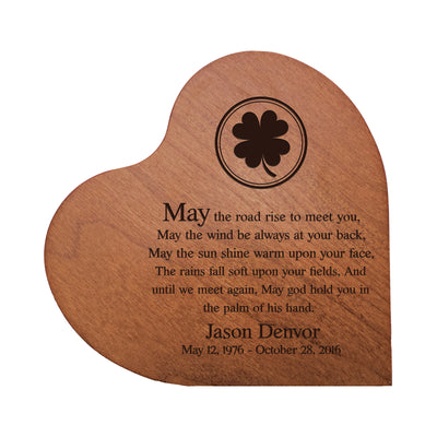 "LifeSong Milestones Personalized Memorial Solid Heart Block May The Road Rise To Meet You Bereavement Keepsake Heart Block Loss of Beloved Pet Sympathy Home Decor - 5"" x 5.75"" x 0.75"""