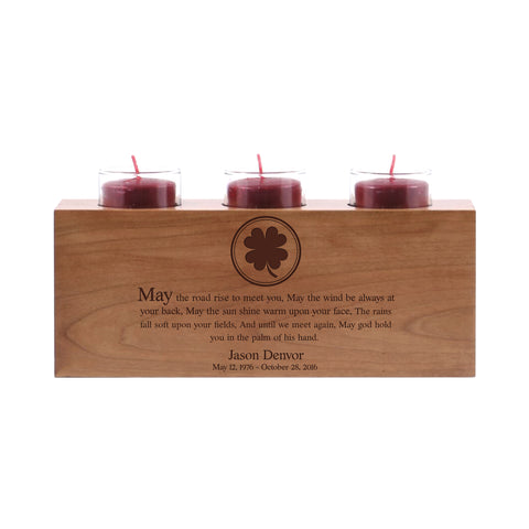 "LifeSong Milestones Personalized Memorial 3 Votive Candle Holder May The Road Rise Bereavement Keepsake Candle Holder Loss of Loved One Sympathy Home Decor - 10"" x 4"" x 4"""