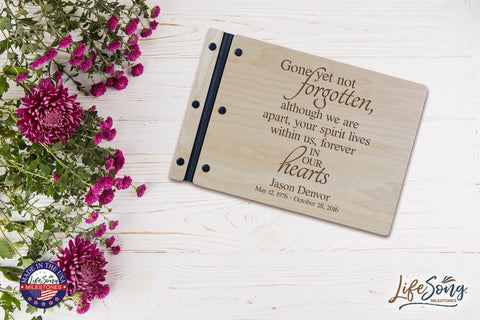 "Lifesong Milestones Funeral Guest Book Personalized Wooden Memorial Guestbook Celebration of Life Guest Book Remembrance In Loving Memory Keepsake 12.375"" x 8.5"" x .75""-Gone Yet Not Forgotten"