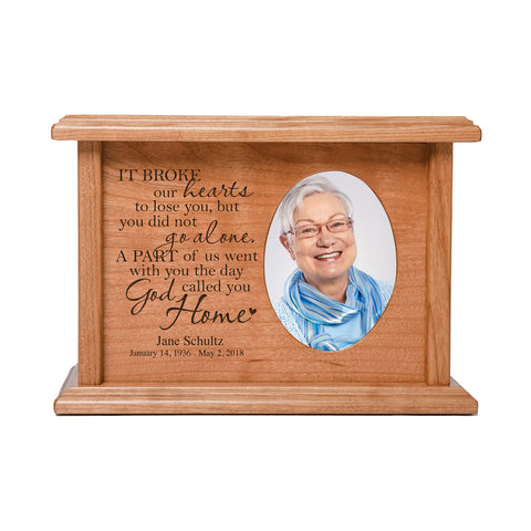 "LifeSong Milestones Personalized Horizontal Cherry Wooden Photo Urn for Human Ashes Urn Keepsake Box -  8.75"" x 6.25"" x 4"" and holds 2x3 photo - 65 cubic inches of ashes."