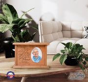 Custom Memorial Cremation Urn Box for Human Ashes holds 2x3 photo and holds 65 cu in It Broke Our Hearts