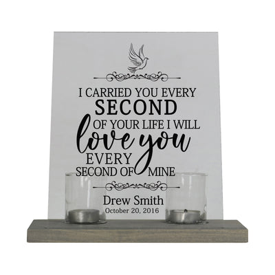 LifeSong Milestones Personalized Memorial Acrylic Wall Sign 8x10 with Votive Candle Holder I Carried You (dove) - Funeral Gift Memorial Remembrance Loss of Loved One.