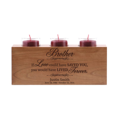 "LifeSong Milestones Personalized Memorial Sympathy 3 Votive Candle Holder - Brother, If Love Could Engraved Tea Light Candle Loss of Loved One Gift - 10"" x 4"" x 4""."