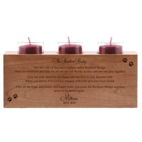 LifeSong Milestones Personalized Pet Memorial Sympathy Keepsake Funeral Candle Holder Custom Engraved Cherry Wood (Triple)