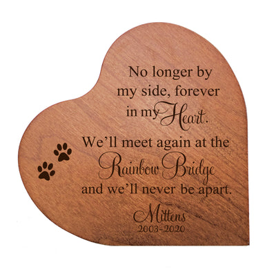 "LifeSong Milestones Personalized Memorial Solid Heart Block No Longer By My Side Bereavement Keepsake Heart Block Loss of Beloved Pet Sympathy Home Decor - 5"" x 5.75"" x 0.75"""