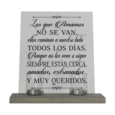 Memorial Acrylic Candle Holder Sign Those Who We Love Spanish Verse