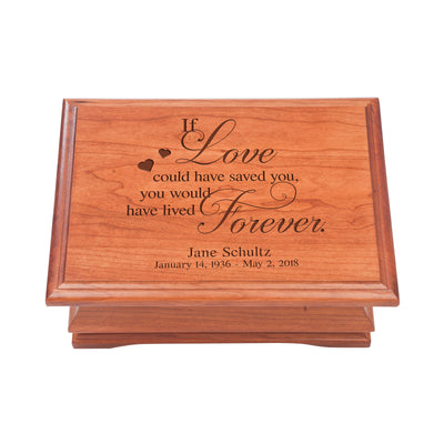 Personalized Wooden Memorial Jewelry Box Organizer 11.5x8.25 – If Love Could Have Saved