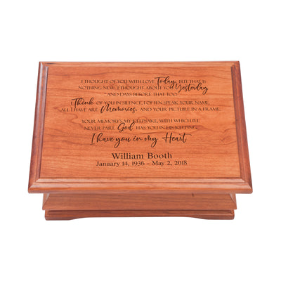 Personalized Wooden Memorial Jewelry Box Organizer 11.5x8.25 – I Thought Of You