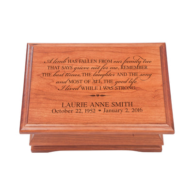 Personalized Wooden Memorial Jewelry Box Organizer 11.5x8.25 – A Limb Has Fallen