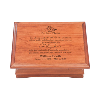 Personalized Wooden Memorial Jewelry Box Organizer 11.5x8.25 – The Broken Chain