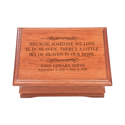 Personalized Wooden Memorial Jewelry Box Organizer 11.5x8.25 – Because Someone We Love