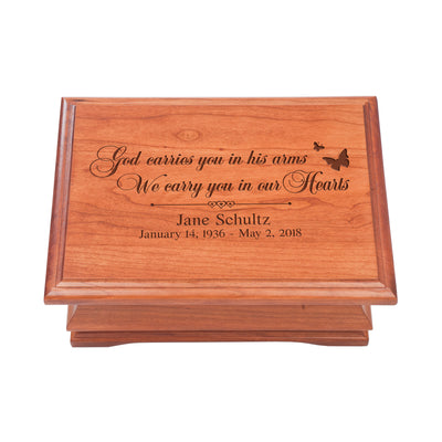 Personalized Wooden Memorial Jewelry Box Organizer 11.5x8.25 – God Carries You