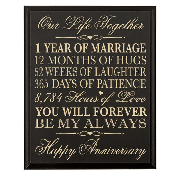 "1st Wedding Anniversary Wall Plaque Gift ""Marriage"""