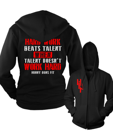 "HBF ""WORK HARD"" Men's Zip Up Hoodie"