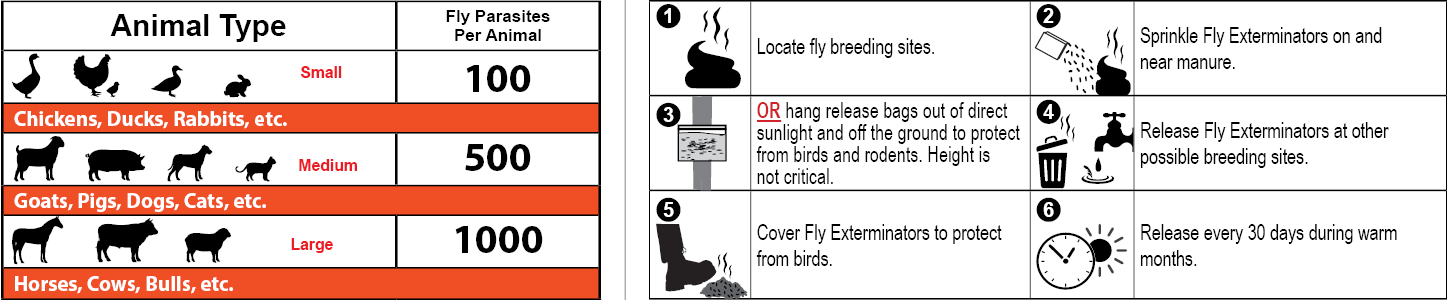 fly exterminator animal reference/release instructions