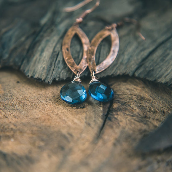 True Blue: Denim Blue Quartz Crystal Earrings