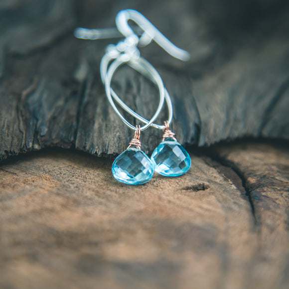 Tranquility: Blue Topaz Silver Teardrop Earrings