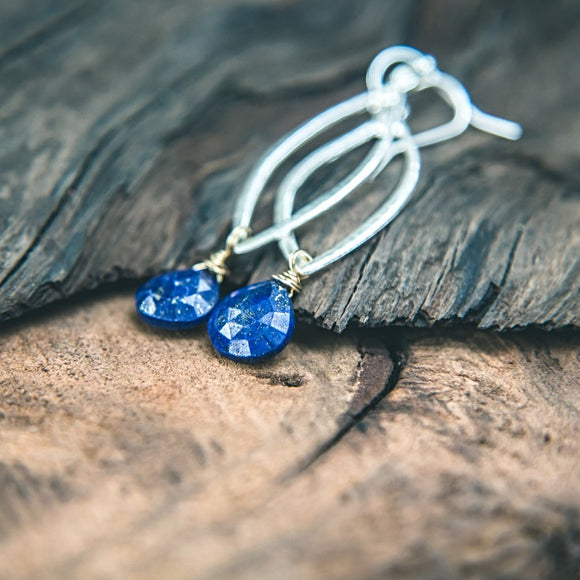 Believe in Yourself Earrings: Lapis Lazuli Silver Teardrop Earrings