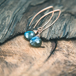 Beautiful Goddess: Labradorite and Rose Gold Earrings