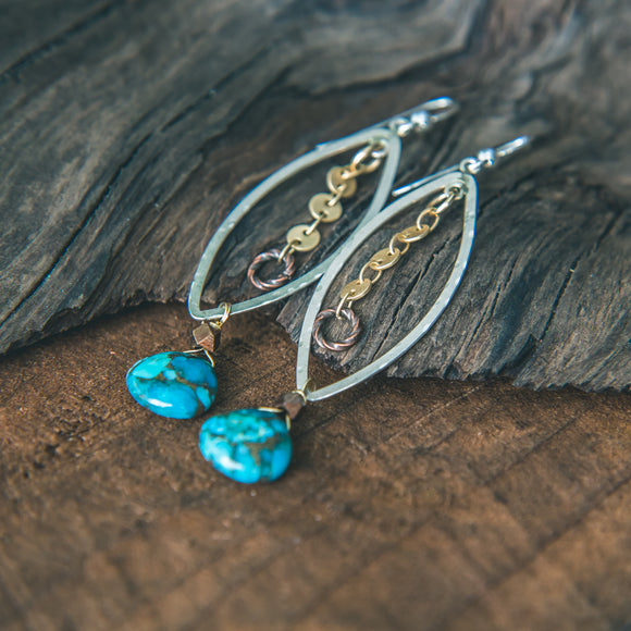 Beauty and Grace: Turquoise Mixed Metal Earrings
