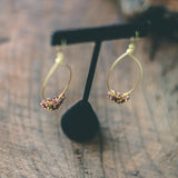 Miracles Happen : Garnet Gemstone Pear Shaped Gold Long Earrings