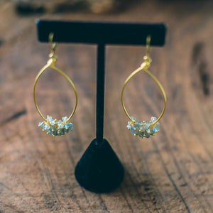 Seat of the Soul : Labradorite Gemstone Pear Shaped Gold Hoop Earrings