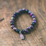 Fearless: Purple Imperial Jasper and Black Onyx Gemstone Bracelet