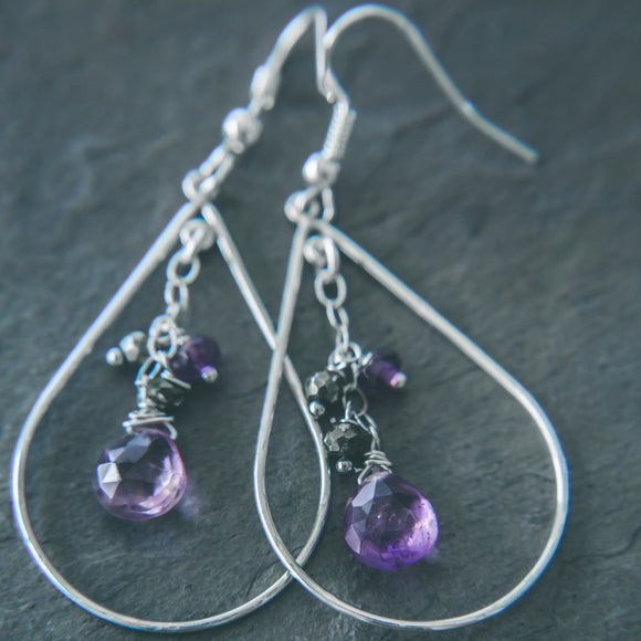 Faith and Love: Amethyst Drop Earrings - Rei of Light Jewelry Designs