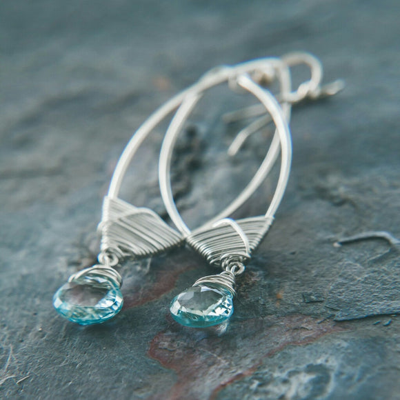 Wisdom Blue Topaz Teardrop Earrings: Timeless Beauty - Rei of Light Jewelry Designs